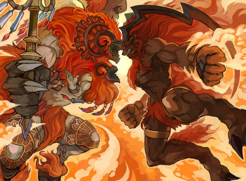 noahbodie:  Belias and Ifrit face off in this pic by Niking