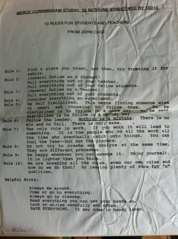 "visual-poetry:  ""10 rules for students and teachers"" from john cage"