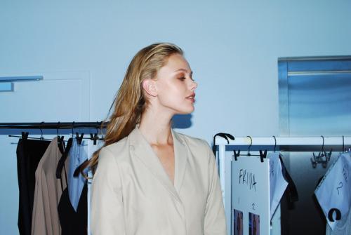 Frida Gustavsson backstage at Filippa K SS11,Stockholm Fashion Week