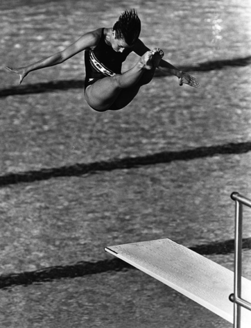 Canadian diver Sylvie Bernier at the 1984 Olympics in Los Angeles where she won a gold medal in the 3m springboard.