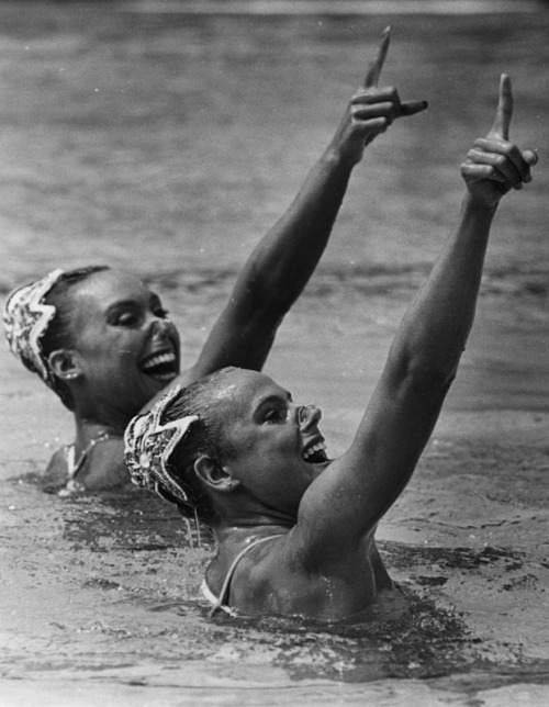 Tracie Ruiz (right) and Candy Costie, gold medalists in synchronized swimming at the 1984 Los Angeles Olympics.