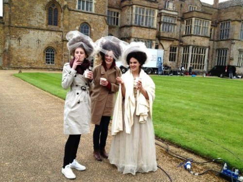 Laura Carmichael, Michelle Dockery and Jessica Brown-Findlay behind the scenes of their LOVE photoshoot (x)