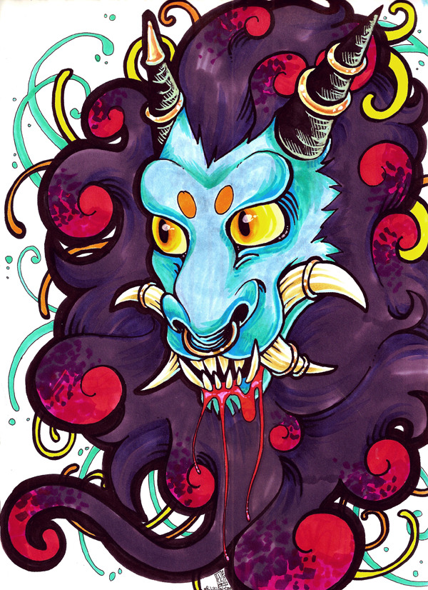 Blue oni. Should have used a bigger bit of paper to get all the swirls and crap in.  Oh wells. Markers. July 2012.