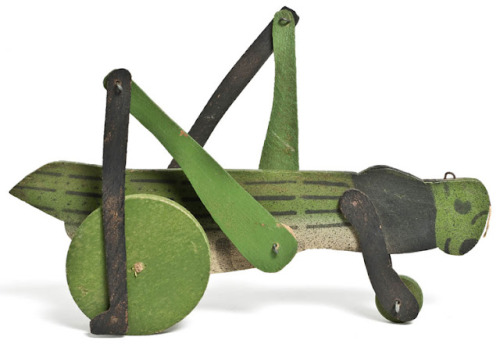 perfection! bleistift-und-radiergummi:  Grasshopper Pull Toy, France 1930's