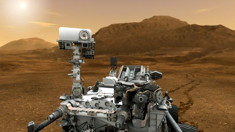 "Mars Curiosity Rover Launched on November 26th, 2011, NASA's newest Mars rover Curiosity will soon be touching down on Mars. It's basically a laboratory on wheels, carrying the biggest and most advanced instruments ever sent to Martian surface, which will be used to work towards the mission's overarching goal of assessing whether Mars is or ever has been habitable. This means searching for environmental conditions favourable to microbial life, especially in the carefully-chosen landing site: the foot of a mountain in Gale Crater, near the equator, which is expected to contain ""hydrated-minerals""—Curiosity will devote much of its time looking for subterranean water, as liquid water is thought to be one of the key requirements of habitability. The rover will test for water by shoving neutrons beneath the surface, since water absorbs them more than other substances. Neutrons have already been used by the Mars Odyssey spacecraft to find what's believed to be ice reservoirs, but high above the planet, neutrons are in abundance—Curiosity will have to carry its own artificial neutron generator, which will be able to blast 10 million neutrons into the surface per pulse, at a rate of ten pulses per second. This brilliant SUV-sized laboratory will land on August 6, taking its first steps on a planet 137 million kilometres from home. Get involved (via sciencesoup:)"