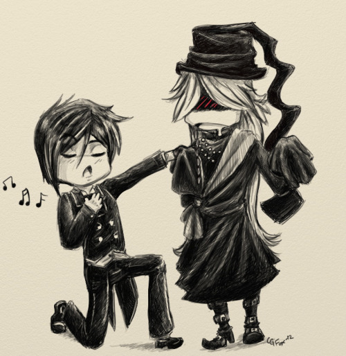 Ooc: *Giggles* How cute and adorable! :3 Sebastian is singing to Undertaker and they are chibis! xD I really love how they were both drawn and the face expression upon their faces. However, I'm not sure who the artist is but I've found this on Fanpop.com! <3