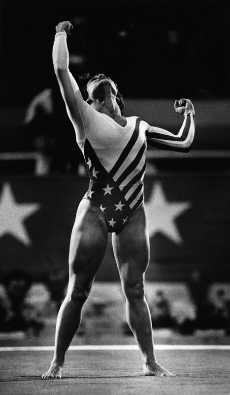coolchicksfromhistory:  Mary Lou Retton after a 10 in vault made her the first American woman to win all-around Olympic gold, 1984.