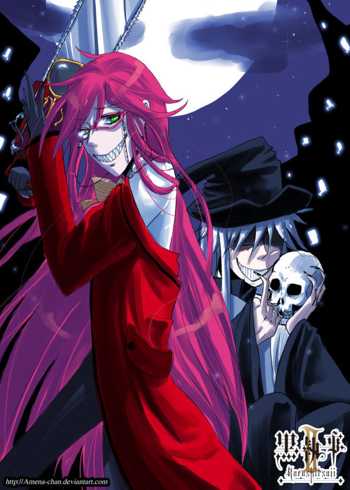 Ooc: This is a lovely fanart of Grell and Undertaker! <3 I've found on DeviantART.com and it's by Amena Chan! Very nice, their smiles are just perfect! :3