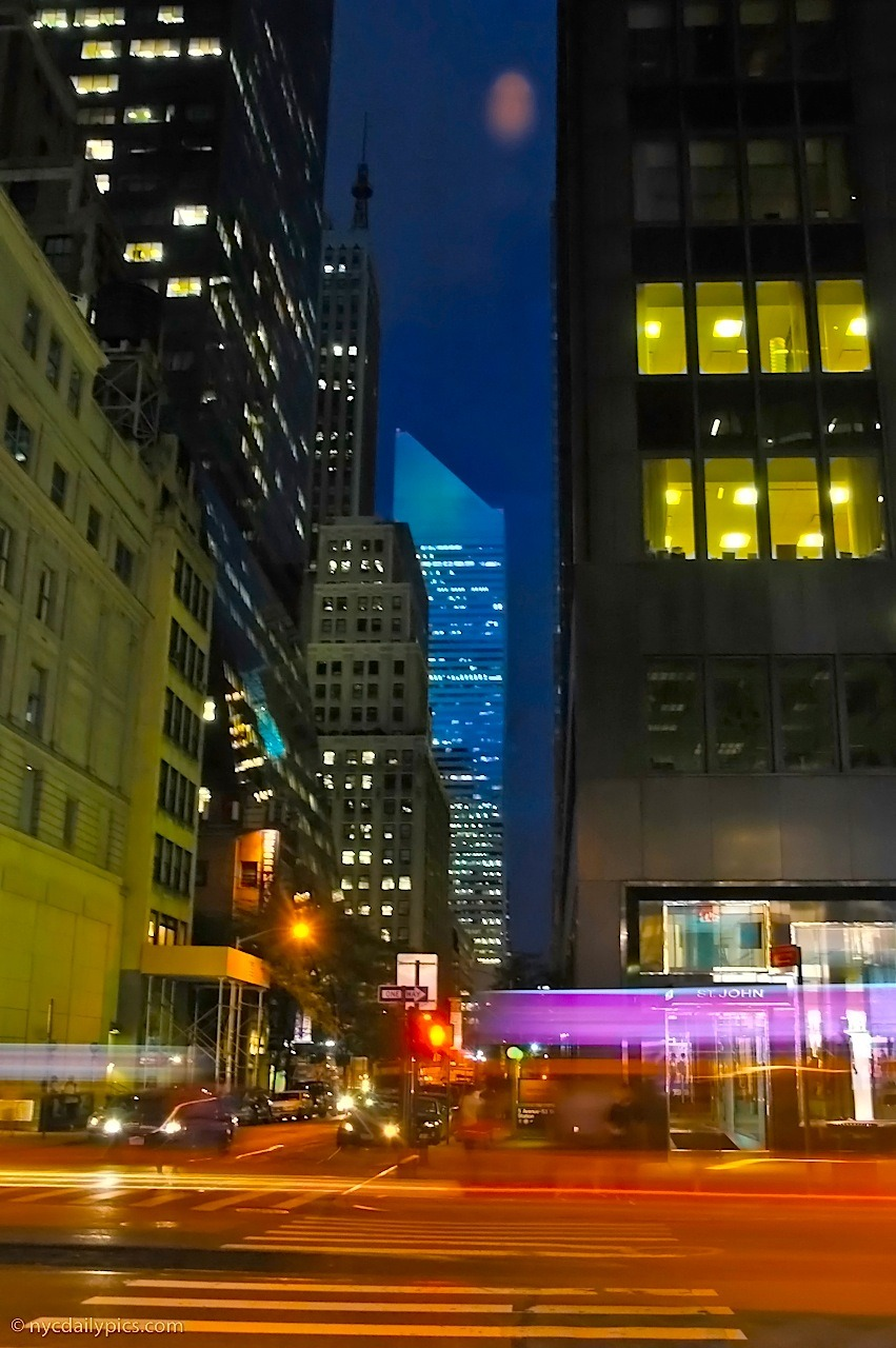 Midtown Manhattan by night: 53rd Street and Fifth Avenue.