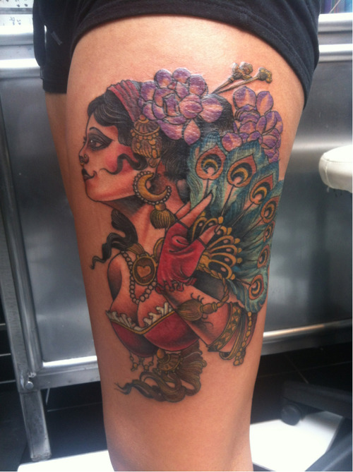 fuckyeahtattoos:  Artist - Steve Vinall  Shop - The Family Business Tattoo (London) This was my first tattoo I sat 3 hours for the outline and 4 hours for the colour and shading, it was totally worth it. I'm so in love with it, Steve is amazing!