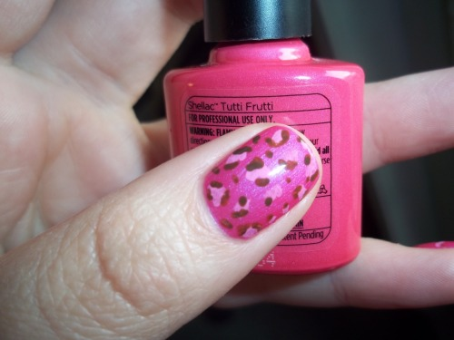 CND Shellac in Tutti Frutti. Acrylic paint used for the leopard print. :)