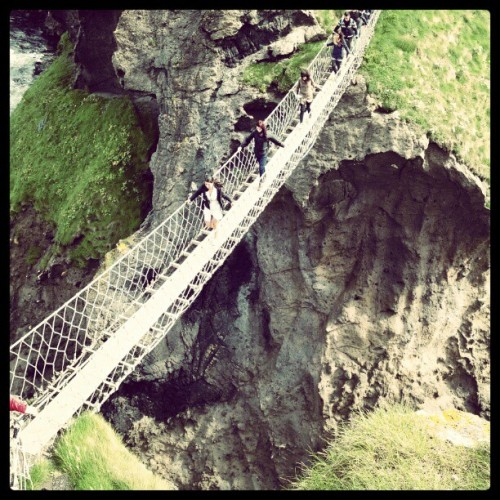 Rope bridge in northern ireland #eurogram  (Taken with Instagram at Carrick-a-Rede Rope Bridge)