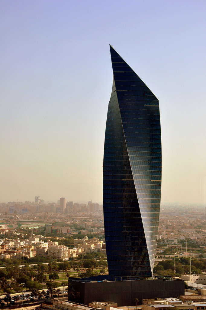 Al Tijaria Tower of the Kuwait Trade Center complex, designed by NORR Limited Architects & Engineers. Photo by Usabin Photography. Check more of his work on his Tumblr.