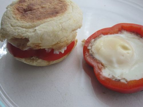 Fried egg in a red pepper on an English Muffin - yum!