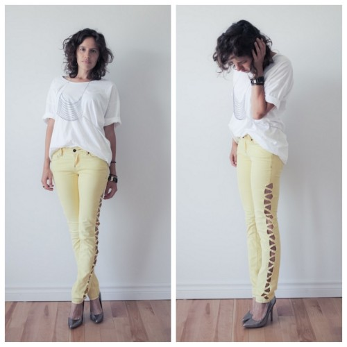 DIY Cut Out Pants Tutorial from Boat People here. There is a sew and a no sew option for this project.