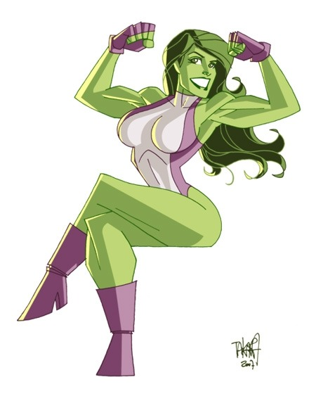 fuckyeahshulkie:  [ a coloured picture of She-Hulk sitting down, flexing her biceps. one leg is crossed over the other and she's grinning. ]  — Marcio Takara