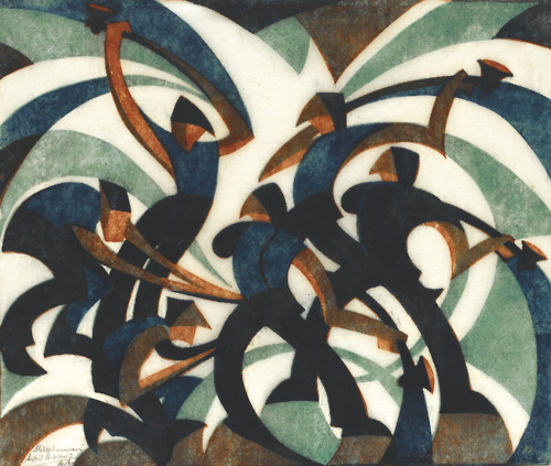 Sledgehammers by Sybil Andrews, 1933 Andrews is an artist I have only recently become familiar with. The modernist style of her linocuts such as Sledgehammers have definite elements of Futurist aesthetics in their compositions, though with more rounded edges and lighter colour palettes.
