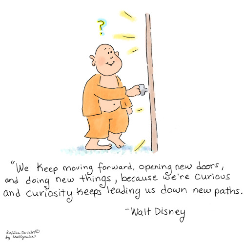 buddhadoodles:  Buddha Doodle - 'Curiosity' by Mollycules Today is the first day of my teacher training for Yoga! Onward with Bravery :)