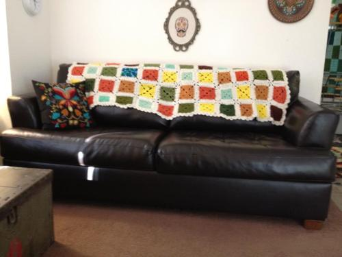 my new couch with my thrifted afghan