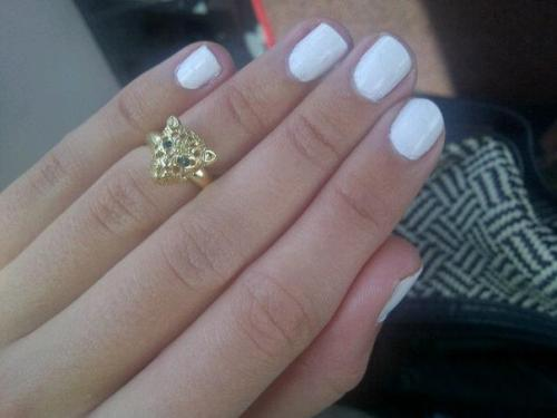 White nails and finger top ring <3