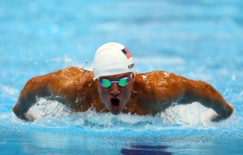 olympics:  @RyanLochte of the United States swims butterfly in heat five of the Men's 400m Individual Medley Photo by Al Bello/Getty Images