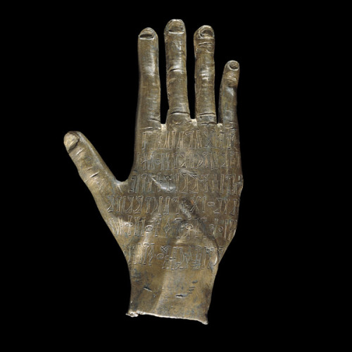 ancientpeoples:  A Bronze Hand Ancient Yemen 100-300 AD An inscribed bronze hand, given as an offering to the god Ta'lab Riyam in a temple in Ancient Yemen, pre-dating the arrival of Islam in the Arabian peninsula in 622 AD.  This right hand was probably a symbol of good fortune, to ward off evil, and also a gesture of honour to the deity. This hand was dedicated by a man called Wahabta'lab for his well being. It reads: Wahabta'lab son of Hisam, [the] Yursamite, subject of the Banu Sukhavm. Has dedicated to their patron Ta'lab Riyam this right hand in his memorial dhu-Qabrat In the city of Zafar, for his well being. It probably comes from the Yemeni highlands. During this period, the kingdom of Himyar was gaining strength in the highlands and battling for power with the kingdom of Saba. In time the Himyarites would unite the whole of ancient Yemen and control the valuable trade frankincense and myrrh between the Roman Empire and India overseas.