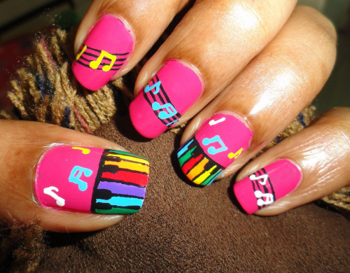 Colorful Piano Nail Art Click on the Link to see Tutorial.