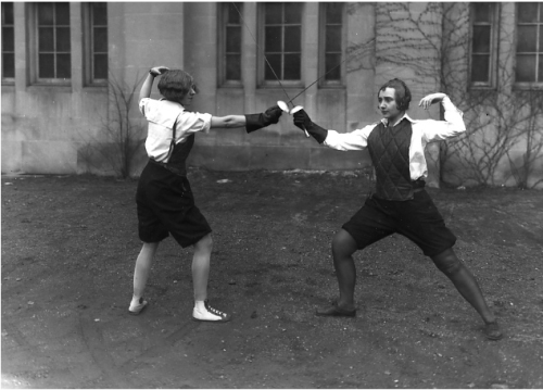 Two women fencing, 1929  From the Michigan State University Archives