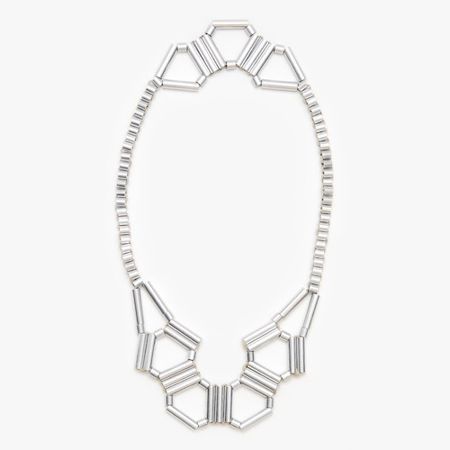 Triangle Front/Back Necklace, Silver