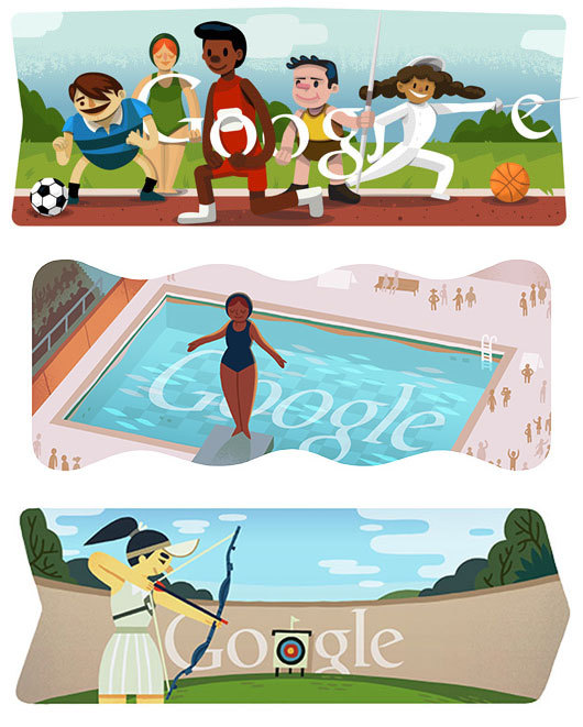 I'm loving the Olympic Google doodles! I can't wait to see if they make a gymnastics one. PS: It's always been my dream to be a Google doodler.