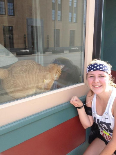 My post-race friend!  Running and cats… Does it get any better?!