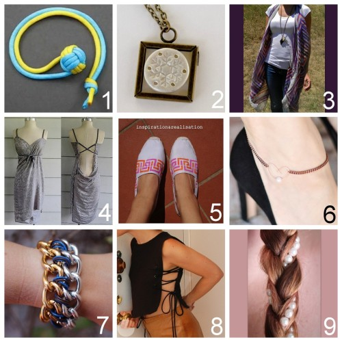 truebluemeandyou:  Roundup Nine DIY Jewelry, Accessories and Fashion Tutorials PART FIVE. Roundup of these past two weeks. July 15th - July 28th, 2012. *For past roundups go here: trebluemeandyou.tumblr.com/tagged/roundup Weekend inspiration from inspiration & realisation here. This past weekend's inspiration included a YouTube channel with 240 videos on tying knots. DIY Easy Stamped Polymer Clay Pendant by Happy Hour Projects here. DIY No Sew Scarf to Long Vest Tutorial from DIY Confessions here. DIY Refashioned Scarf to Dress or Beach Cover Up from Wobisobi here. DIY Easy Stenciled Espadrilles Tutorial from inspiration & realisation here. DIY Easy Rose Gold Chain and Wire Bracket and Anklet from …Love Maegan here. DIY CC SKYE Inspired Natalie Bracelet Tutorial from stripes + sequins here. DIY Lace Up Crop Top with Template From Runway DIY here. DIY Pearl Braid from Pink Boulevard here.