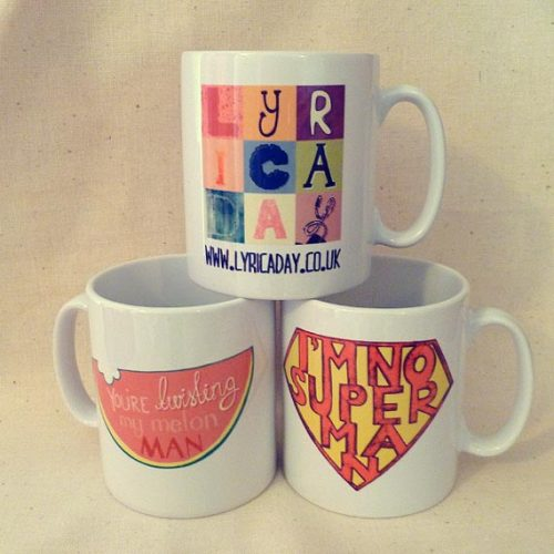 lyricaday:  Lyric A Day Mugs - Will be available to order from Monday. Packaged in plastic presentation boxes and posted in cardboard all for just £12.00 Or come down to the Teenage Market tomorrow at Stockport Market Hall to pick one up early!