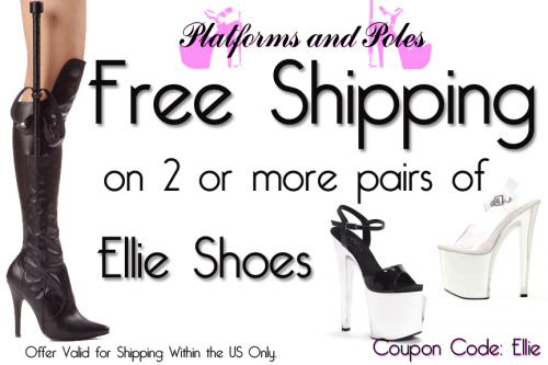 Free Shipping on 2 or more pairs of Ellie Shoes, Bettie Page by Ellie, and Penthouse Shoes. www.platformsandpoles.com
