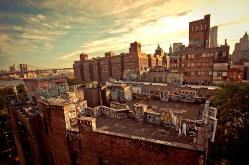 "Chinatown rooftop graffiti and the Brooklyn Bridge. New York City  The sun streams across the city in the evening touching every layer of the city with its warmth.  And the streets, buildings and bridges cling to its light with soft ferocity hoping to keep it from leaving the sky.  —-   View this photo larger and on black on my Google Plus page  —-  Buy ""Rooftop Graffiti in Chinatown Looking Towards the Brooklyn Bridge - New York City"" Prints here, email me, or ask for help."