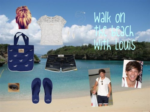 Walkk on the beach with Louis by iluvparis16 featuring embroidered tote bagsHollister Co. mesh t shirt / Hollister Co. cotton short shorts / Hollister Co. beach flip flops / Hollister Co. embroidered tote bag / Meadowlark chain jewelry, $240 / Oasis feather drop earrings / Shimmer eyeshadow