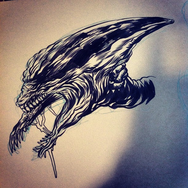 Inking warmup  (Taken with Instagram)
