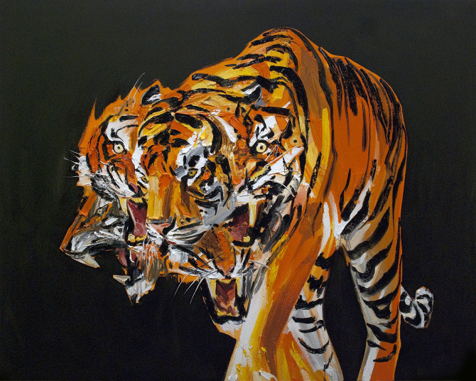 erikolson.ca Erik Olsen, Tigers in the Night, 2011, oil on canvas, 48 x 60 inches