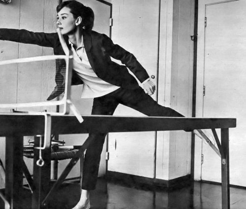 librarysciences:  Audrey Hepburn playing ping-pong [via pourpreandvioline].