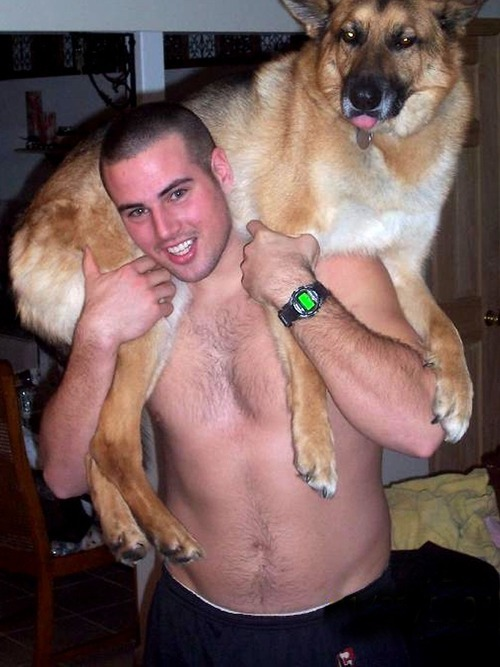 menandtheirdogs:  mikestand:  Toby.  Not sure which one is Toby.  Don't try this at home, Boys and Girls.