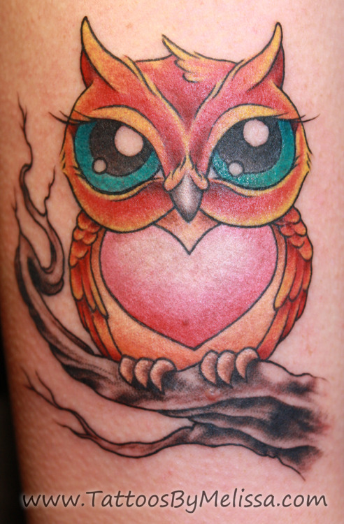 Check out this super cute owl I tattooed on a chick's arm! What do you think?  Visit Tattoos By Melissa to see more of my work! You can also follow me on Facebook, Twitter, Tumblr, Google+, Pinterest, We Heart It, Love It, Wordpress, Blogger, & Deviant Art. E-mail me at melissacapotattoo@gmail.com for information on getting tattooed by me!
