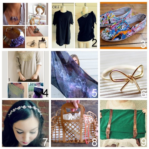 truebluemeandyou:  Roundup Nine DIY Jewelry, Accessories and Fashion Tutorials PART SEVEN. Roundup of these past two weeks. July 15th - July 28th, 2012. *For past roundups go here: trebluemeandyou.tumblr.com/tagged/roundup DIY Four Crystal/Amethyst Jewelry Tutorials I've posted here.  DIY No Sew One Shoulder Side Tied Tee Shirt Tutorial from Wobisobi here. DIY Splatter Canvas Shoes from Sketch 42 here. Three Woven Shirt Tutorials I've posted here. DIY Galaxy Scarf from Scarves.net here. DIY Wire Bow Ring Tutorial from I Spy DIY here.  DIY Easy Flower and Spike Headband from M&J Blog here.  DIY Louis Vuitton Inspired Jelly Bag Tutorial and Template from Make My Lemonade here. DIY Two Satchel Bags Using Thrifted Belts Tutorials from Pineneedle Collective here.