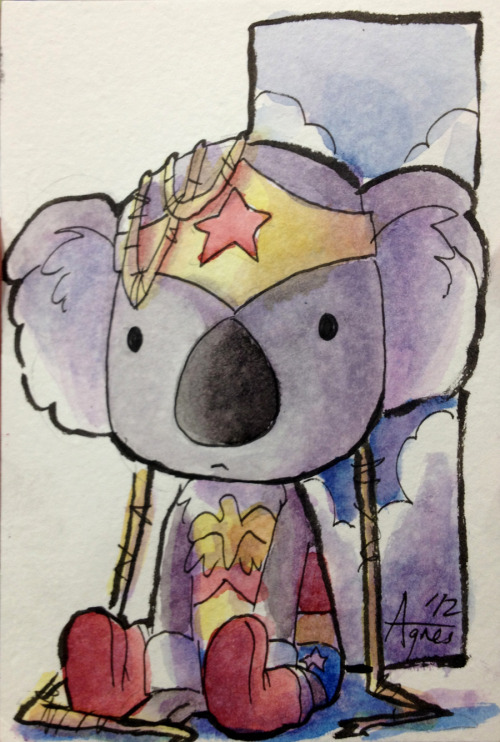 Koala WonderWoman! With the success of my Koala drawing for Oz Comic Con I was asked to draw a Koala WonderWoman at SDCC. She is such a cutie. Also updated my fun all-age web comic today! View the full page here!