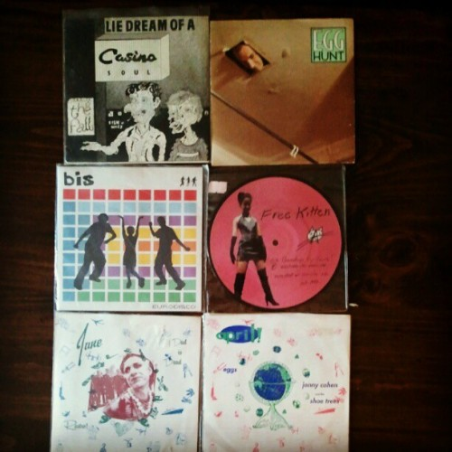 "Thanks Store54!  ratsrevenge:  Record Haul 7/28/12: The Fall, bis., Free Kitten picturedisc, Egg Hunt, two Simple Machines 7"" splits feat. My Dad Is Dead and (The) Eggs (Taken with Instagram)"