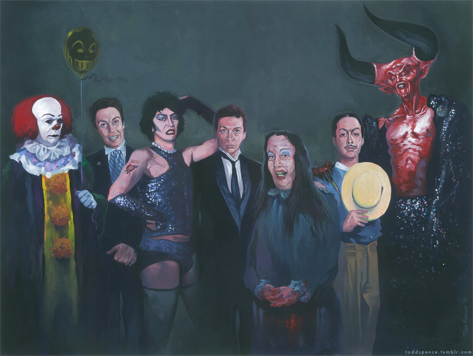 "toddspence:  ""A Cast of Currys"" - http://www.facebook.com/toddspenceart Legendary charactor actor Tim Curry really needed a tribute homaging his most favorited roles.  The lineup includes charactors from his various TV and films: IT, Fern Gully, Home Alone 2, Rocky Horror Picture Show, Clue, Tales from the Crypt, Annie, Legend and a slight nod to Muppets Treasure Island (I'm not the greatest fan but felt the need) as Darkness wears an ""I Heart M.T.I."" button. Painted as if they are doing a photo shoot together, this painting measures 15""x18"", acrylic on illustration board.   Buy original and prints here: http://www.etsy.com/shop/toddspence"