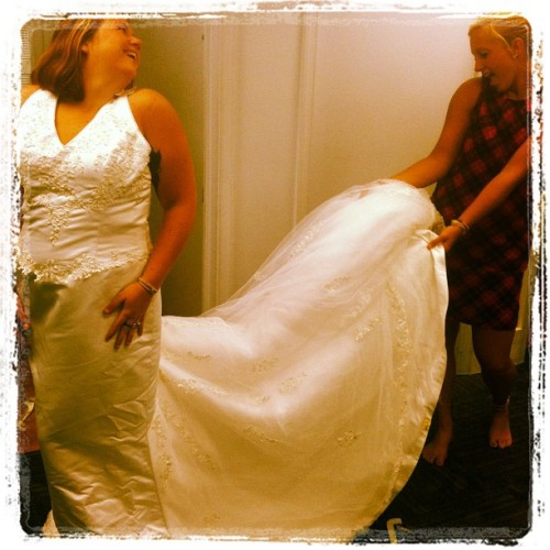interchangeablehope:  Bride and made of honor :) I cried a little (Taken with Instagram)