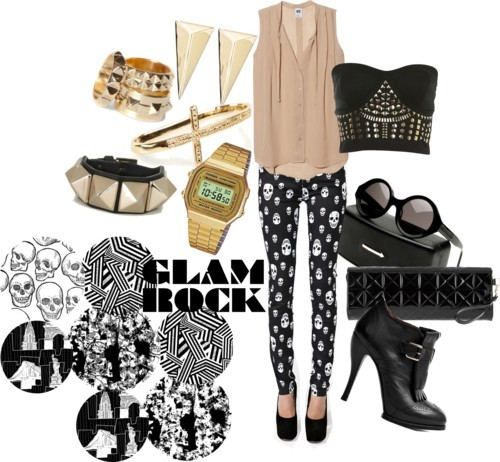 Glam ROCK por julianajace usando leather jewelry  NSF sleeveless button down shirt / Miss Selfridge studded shirt / Stretch skinny jeans / McQ by Alexander McQueen fringe high heels / Gareth Pugh clutch handbag / Valentino leather jewelry, $250 / Alexis Bittar yellow gold earrings / Casio yellow gold watch, $61 / Cross jewelry / Pull&Bear punk ring, $9.42 / Vintage shades