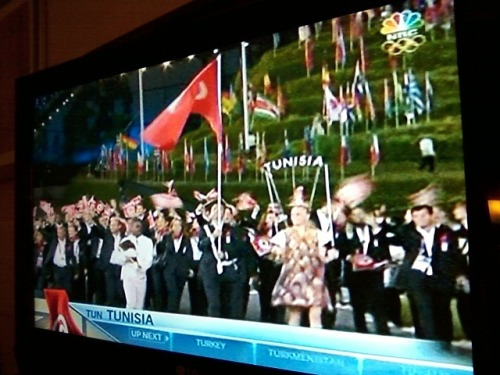 Watched last night the breathtaking Olympic Games Opening Ceremony at my hotel room, and saw my native Tunisia marching into the London Olympics.. it put a smile on my face, I admit. Tunisia participates in its first Olympic Games since the (so called) Revolution. With 83 athletes and 17 disciplines, Tunisia will field the largest Olympics team in its history. Bonne chance! — at Hyatt Regency Hotel - Houston.