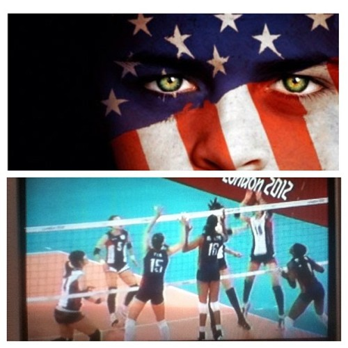 USA vs South Korea volleyball game on NBC. America is number 1 in the world #teamUSA #summerolympics #london2012 #londonolympics (Taken with Instagram)