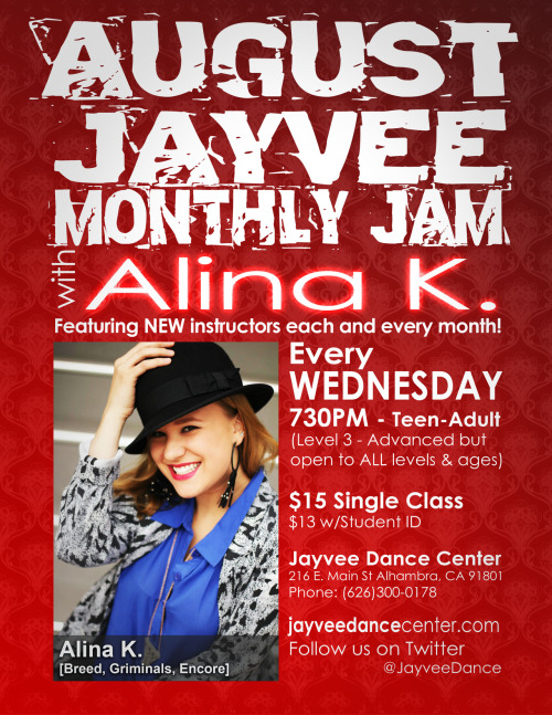 MONTHLY JAM: AUGUST Alina K. [Boogiezone Breed, Griminals, Encore] teaching every Wednesday night for the month of August.Class begins at 7:30pm$15 drop in$13 with student I.D.Come to Monthly Jam with us every Wednesday night at 7:30pm featuring a new instructor every month.